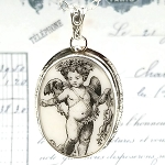 Broken China Jewelry Oval Black Toile Broken China Jewelry Angel Pendant